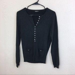 J. McLaughlin Sweater S Cotton Modal Charcoal Gray